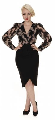 """""""Our vintage inspired Patricia shirt has a plunging neckline, button fastenings and puff shouldered long sleeves with fitted cuffs. It is made using gorgeous black chiffon material with unique feather print."""""""