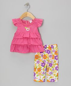 Take a look at this Fuchsia Ruffle Angel-Sleeve Top & Floral Capri Leggings - Infant by Coney Island Kids on #zulily today!