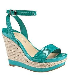 Great, simple pair, that is as comfortable as a pair of flats!! Only $29.99!!   Gianni Bini Turquoise Patent Leather Snake Texture Platform Wedge Sandal Sz 9