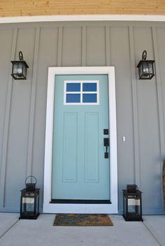 Best Exterior Paint Colors For House Blue Gray Robins Egg Ideas Paint Colors For Home, House Paint Exterior, House Painting, New Homes, House, Robins Egg Blue Paint, Painted Front Doors, Exterior Paint Colors For House, Tan House