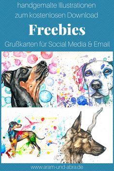 Freebies: Hunde Grußkarten für Social Media und Email zum kostenlosen Download.  Handgemalte Illustrationen von Aram und Abra (Aquarell)