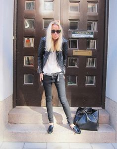 elin kling #autumn #perfection #favorite #leather #jacket #jeans #sunglasses #rayban #wayfarer #hair #blond #shoes #bag