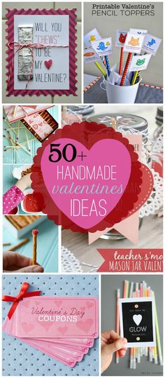 A collection of 50 + Handmade Valentine's Ideas that are all adorable and easy to make. My Funny Valentine, Valentines Day Treats, Valentine Day Love, Valentine Day Crafts, Valentine Decorations, Holiday Crafts, Holiday Fun, Valentine Ideas, San Valentin Ideas