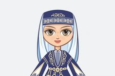 The Doll in the Chechen National Dress (Graphic) by zoyali · Creative Fabrica Illustrations, Graphic Illustration, Back Art, Scene Creator, Love Mom, Texture Art, Line Design, Historical Clothing, Illustration