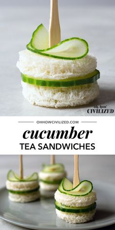 Bite-Sized Cucumber Sandwiches for Tea Time Dainty and easy-to-make cucumber sandwiches with chive butter. Mini Sandwiches, Tea Party Sandwiches Recipes, Cucumber Tea Sandwiches, Tea Party Recipes, Tea Party Foods, English Tea Sandwiches, Sandwich Menu, Tea Party Menu, Monte Cristo Sandwich