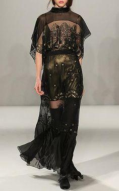 Temperley London - Long Sura Dress in Black - Fall-Winter 2015 (=)