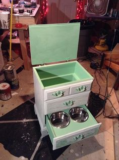 This is a re-purposed Dog Station I just finished up from an old nightstand! - @Will Voelker Thompson