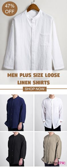 UP TO 47% OFF! Men Plus Size Chinese Style Retro Design Casual Loose Linen Shirts With Chest Pocket. SHOP NOW!