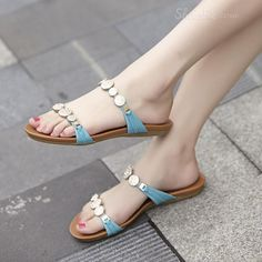 styling Concise Rhinestone Flat  Sandals