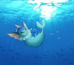Vaporeon - digital, art, under, water, pokemon, eevee evolution, water type, cute, kawaii, adorable