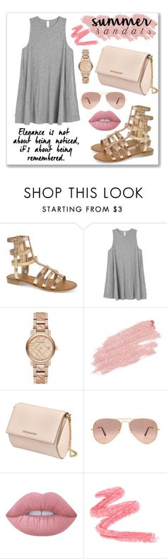"""Summer Sandals"" by nnniki ❤ liked on Polyvore featuring Chinese Laundry, RVCA, Burberry, Jane Iredale, Givenchy, Ray-Ban, Lime Crime and summersandals"