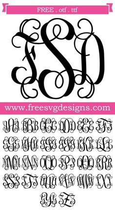 free monogram svg files for cricut Cricut Monogram Font, Vine Monogram Font, Monogram Maker, Free Monogram, Free Svg Files Monogram, Fonts For Monograms, Embroidery Monogram Fonts, Cricut Vinyl, Silhouette