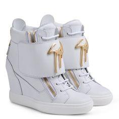 Giuseppe Zanotti Women s White Leather Wedge Heel Sneakers Size Uk 2 EU 35 £870