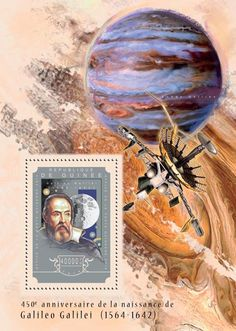 Post stamp Guinea GU 14605 b anniversary of Galileo Galilei Astronomy, Turquoise Necklace, Anniversary, Stamps, Space, Link, Seals, Floor Space, Postage Stamps