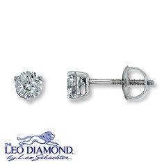 40d207bcf Leo Diamond Earrings 3/4 ct tw Round-cut 14K White Gold Leo Diamond