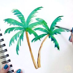 Palm Tree(s) Sway 🌴 - Lettering and watercolor by Chrystal Elizabeth Chrystal Elizabeth – Watercolor Paintings For Beginners, Watercolor Video, Watercolor Trees, Watercolor Beginner, Watercolor Water, Gouache Painting, Painting & Drawing, Drawing Tips, Summer Drawings