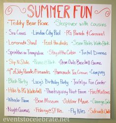Celebrate Summer by making a Summer Fun Poster!! Combat boredom by letting your kids select an activity on a slow day and at the end of the Summer you'll see all the fun you had!!