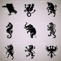 Find Mixed Animal Heraldry Collection stock images in HD and millions of other royalty-free stock photos, illustrations and vectors in the Shutterstock collection. Swedish Tattoo, Animal Symbolism, Black Silhouette, Vintage Typography, Free Vector Graphics, Design Reference, Coat Of Arms, Craft Items, Graphic Design Illustration