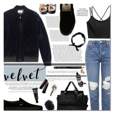 """Velvet"" by aguniaaa ❤ liked on Polyvore featuring A.P.C., Vans, Topshop, New Look, Bobbi Brown Cosmetics, Aesop, Make, velvet, bomberjackets and polyvoreeditorial"
