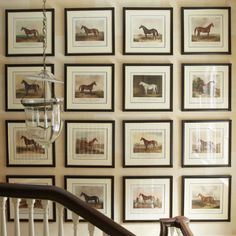 On a classic staircase, hangs a precise gallery wall of antique equestrian prints. Equestrian Bedroom, Equestrian Decor, Equestrian Style, Staircase Design, Classic House, Wall Collage, Artwork Wall, Decoration, Retro