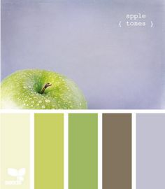 palette is pleasing to the eye, and the light grey-blue calms down the apple green.
