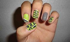 nail art for short nails with mix and match colors