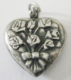 Vintage Sterling Silver Repousse Puffed Heart Charm