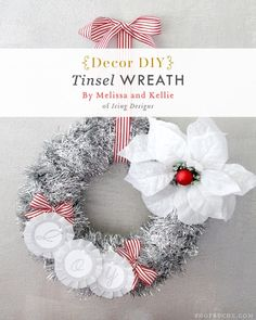 cardboard, tinsel, ribbon, poinsetta. I can find all of these at the dollar store!!!