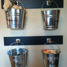 Organization | Pails work in place of bins or baskets and are easy to carry to a play space