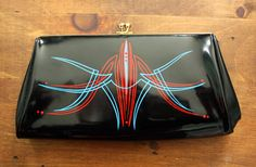 Hey, I found this really awesome Etsy listing at https://www.etsy.com/listing/223833519/vintage-pinstriped-purse-red-and-blue-on