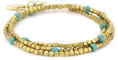 Ettika Tribal Wrap Bracelet with Beads and Turquoise Semi-Precious Stones