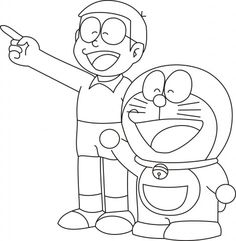doraemon with nobita colouring pages freen download - Doraemon Colouring Book