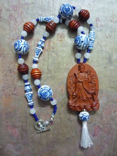 Necklace Chinese Goddess White Jade Wood by ThePamperedGoddess