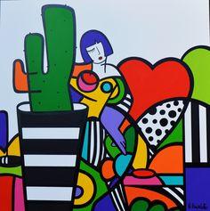 Galerie Duret - Virginia Benedicto - Love and Cactus - acrylique sur toile - 120x120cm - 2015