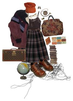 """""""eileen"""" by walking-in-circles ❤ liked on Polyvore featuring undrest., Aurum By Gudbjorg, Louis Vuitton, Retrò and Dr. Martens"""
