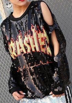 'Thrasher' Sequin Embellished Cut-Out Sweatshirt-Black, Blue or Pink