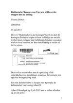 Kabinetschef Jacques van Ypersele wilde eerder stoppen dan de koning