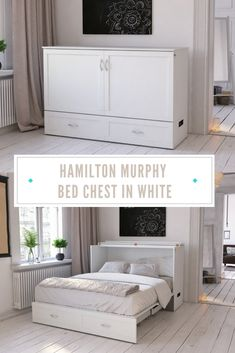 """Allow us to add the """"white"""" into your red and blue this summer with our Hamilton Murphy Bed Chest! The chest opens to unveil a queen size mattress that folds out into a bed - and can fold up into the chest for convenient storage. Murphy Bed Office, Murphy Bed Desk, Murphy Bed Plans, Murphy Bed With Couch, Diy Murphy Bed, Fold Out Couch, Fold Down Beds, Beds For Small Spaces, Small Space Bed"""
