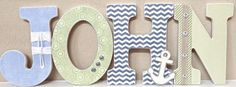 Wooden Nursery Letters - Baby Boy Nursery Decor- Nautical- Personalized Name- any color, theme, bedding- The Rugged Pearl by TheRuggedPearl on Etsy https://www.etsy.com/listing/174654810/wooden-nursery-letters-baby-boy-nursery
