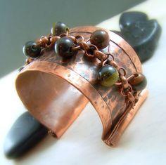 Hammered Copper Gemstone Cuff Bracelet Fold by WillowCreekJewelry on Etsy