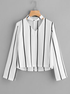Sheinside Striped Blouse Women Shirts Blouses Autumn Crop Top Long Sleeve Cut Out V Neck With choker 2017 Office Ladies Blouse Girls Fashion Clothes, Teen Fashion Outfits, Trendy Outfits, Fashion Women, Style Fashion, Fashion Dresses, Vetement Fashion, Mode Style, Shirt Blouses