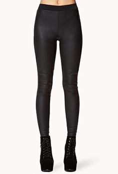 Faux Leather Paneled Leggings | FOREVER21 - 2059755583