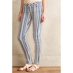 """Paige for Anthro NWT Cyprus Stripe Skinny Jeans super fun NWT navy and off white 'Cyprus Stripe' Verdugo Ultra Skinny jeans from Paige for Anthropologie. 92% cotton, 6% Elastomultiester, 2% Elastane. waist is 12"""" flat, front rise 7.25"""", inseam is 29.25"""". size 24. new with tag - never worn. Anthropologie Jeans Skinny"""