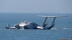 Wing Ship Technology Corporation    prototype (pictured) is powered by a turboprop and can carry 50 passengers. It has a catamaran-style hull and a reverse delta wing. Its cruising speed, 180kph (110mph), makes it faster than a jetfoil, its principal rival. And the production version will have a range of 1,000km.