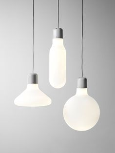 The Form Pendants are a family of three blown glass forms borrowed from the timeless world of the industrial light bulb. Three pendants together in a window or thirty of them in an illuminated sculptural mobile — create your own expression by combining them in different constellations.