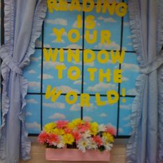 Reading Is Your Window to The World Bulletin Board Idea School Library Displays, Library Themes, Classroom Displays, Classroom Decor, Library Ideas, School Libraries, Classroom Window Display, Preschool Displays, Library Decorations