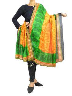 Art Silk Block Printed Dupatta-Orange&Green