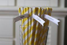 50 Yellow Paper Straws Striped Retro Vintage Style Carnival Circus Wedding Birthday Bridal Baby Shower  W/  Printable Flags I created. $7.79, via Etsy.