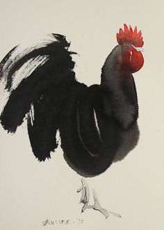 "Buy Prints of Dominant, a Ink on Paper by Endre Penovác from Serbia. It portrays: Animal, relevant to: rooster, black, animal, animals, rural life, ink, Year of Rooster, nature ""Penovac doesn't want  simply to reproduce the appearance of the rooster, but to capture its spirit in the best way. Endre puts upon the paper the fewest possible lines and tones, just enough to depict the imaged form and texture. Every brush-touch is full-charged with meaning."" Planet of Artists"