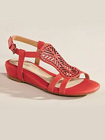 Cutwork detail is the look of the season ~ Leather Cutwork Sandals By Softspots® from Old Pueblo Traders